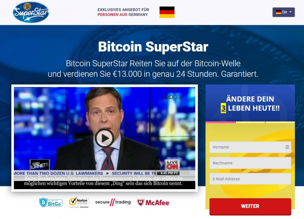 Bitcoin Superstar Betrug